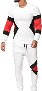 Mens Tracksuit Set Gym Jogging Bottoms Casual Color Matching Joggers Sports Sweatsuit with Pockets 2-Piece Set Round Neck ...