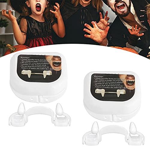YTATY Colmillos de vampiro retráctiles de vampiro, colmillos de vampiro retráctiles de plástico de silicona horrible dientes de colmillos de vampiro para adultos y niños (2 piezas)