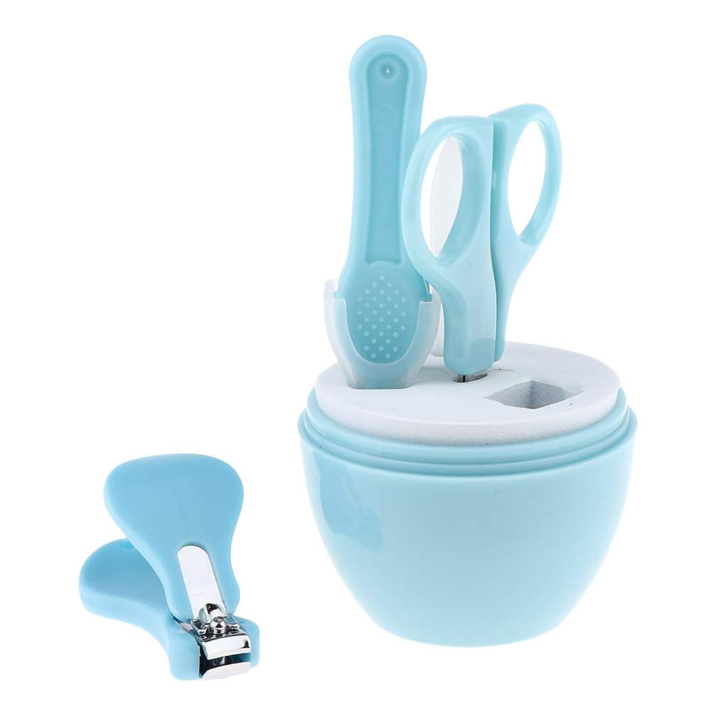 Perfeclan 2色選択 ネイルシザー ネイルクリッパー ネイルファイルピン 爪切り 子供用ネイルケアセット - ブルー