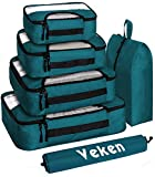 Veken 6 Set Packing Cubes, Travel Luggage Organizers with Laundry Bag & Shoe Bag (Dark Blue)