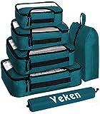 Veken 6 Set Packing Cubes, Travel Luggage Organizers with Laundry Bag & Shoe Bag (Dark Blue)