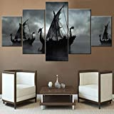 Norse Decor Black and White Painting Viking Ship Artwork Fantasy Sailing Boat Pictures for Living Room Home 5 Panel Dragon Canvas Wall Art Modern Framed Ready to Hang Posters and Prints(60''Wx32''H)