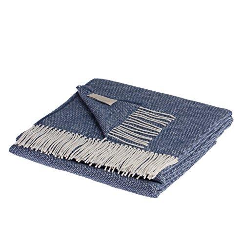 LANEROSSI Plaid Valeria, Baumwollmischung, blau, 130x 170x 1.5cm
