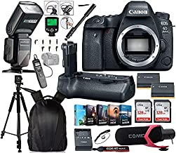 Canon EOS 6D Mark II DSLR Camera (Body Only) w/Canon BG-E21 Battery Grip + 2X Canon Battery Bundle Includes 256GB Memory, TTL Flash, Backpack, Pro Mic, Timer Remote, Photo Software Package & More