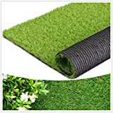 Artificial Grass Thick Turf (1.38' Custom Sizes) Multi-use Fake Pet Grass Indoor/Outdoor Rug Synthetic Lawn Carpet,Faux Grass Landscape for Patio,Garden,Astroturf for Dogs with Drain Holes