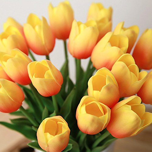 kingtoys 10PCS PU Mini Tulip Fiore Artificiale Real Touch Latex Tulipano per la cerimonia nuziale per la decorazione domestica (Arancio)