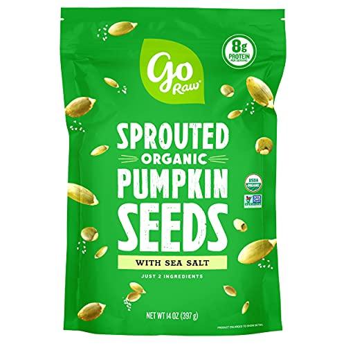 Go Raw Pumpkin Seeds with Sea Salt, Sprouted & Organic, 14 oz. Bag | Keto | Vegan | Gluten Free Snacks | Superfood