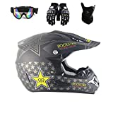 Motocross Helmet Occhiali Guanti Maschera Adulto Moto ATV Off Road Casco MTB Unisex Full Face Crash Caschi D.O.T Certificato Rockstar,TK02,XL61~62CM
