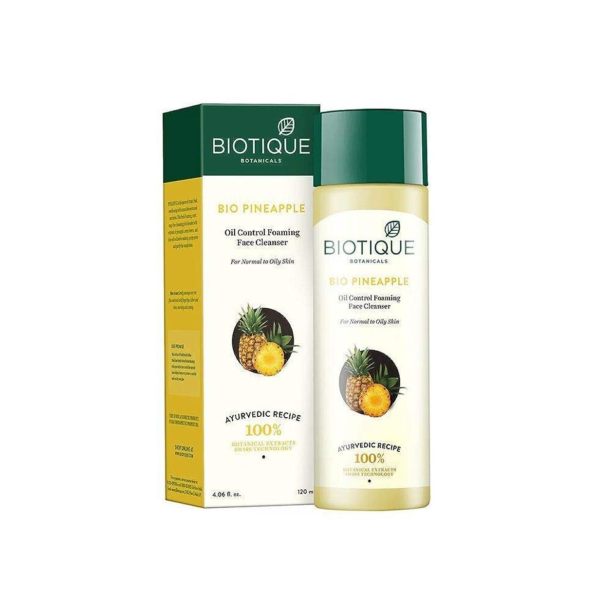 意識遅滞予測子Biotique Pineapple Fresh Foaming Cleansing Gel for Normal to Oily Skin, 120ml