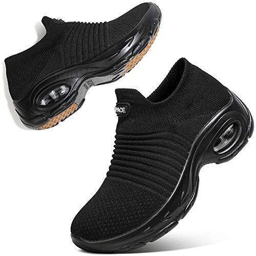 Sixspace Damen Sneaker Turnschuhe Atmungsaktiv Laufschuhe Leichtgewichts Walkingschuhe Sportschuhe Freizeitschuhe Straßenlaufschuhe Trainer für Outdoor Fitness Gym(Schwarz,38 EU)