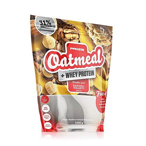 Prozis Oatmeal + Whey - Haferflocken und Molke, 1000 g - Banane-Walnuss - Hochwertige Kohlenhydrate und sättigenden Ballaststoffe, Herzfreundlich, Vegetarisch