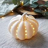 Lights4fun - Zucca Decorativa in Ceramica Bianca con LED Bianco Caldo a Pile