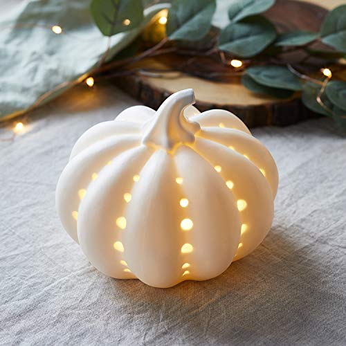 Lights4fun - Zucca Decorativa in Ceramica Bianca con LED...