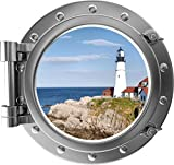12' Port Scape Lighthouse #2 Silver Porthole Window Wall Decal Sticker Self Adhesive Vinyl Removable Wall Art for Bathroom Office Living Home Decor