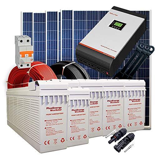 Kit Solar 24v 1800w/9000w día Batería FT-250Ah Inversor Multifunción 5kva Regulador MPPT 80A