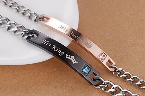 AmorFeel His Queen Her King Stainless Steel His and Hers Couple Bracelet(2pcs)