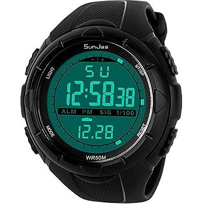 Sunjas - Reloj de pulsera deportivo digital para hombres, resistente al agua (5ATM), LCD, con cronómetro, cronógrafo, fecha y alarma, de goma