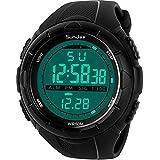 SunJas 5ATM Montre-bracelet de sport étanche à l'eau pour homme avec LCD, fonction...