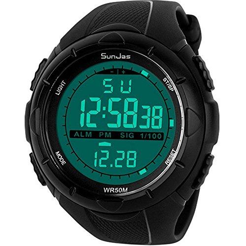 SunJas 5ATM Wasserdicht Sport Armbanduhr Fashion Men LCD Digital Stoppuhr Chronograph Datum Alarm Gummi-Sport-Armbanduhr ( Schwarz)