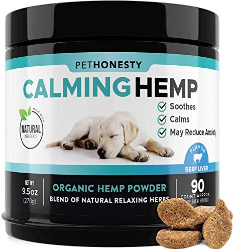 PetHonesty Hemp Calming Treats for Dogs - All-Natural Soothing Snacks with Hemp + Valerian Root, Stress & Dog Anxiety Relief - Aids with Thunder, Fireworks, Chewing & Barking (Beef Liver)