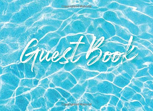 Guest Book: Beach house, Airbnb, Guest House, Outdoor Wedding Guestbook- Blue Lagoon Swimming Pool Design For Guests to Sign In With Message