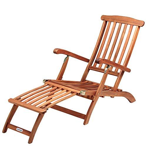 Sonnenliege Queen Mary Akazien Holz Verstellbar Fußsegment klappbar Sonnenstuhl Deckchair Garten Liegestuhl Liege