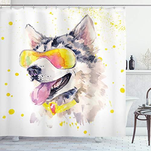 ABAKUHAUS Tier Duschvorhang, Lustige Husky-H&e Sonnenbrille, Bakterie Schimmel Resistent inkl. 12 Haken Waschbar Stielvoller Digitaldruck, 175 x 200 cm, Gelb-graue beige