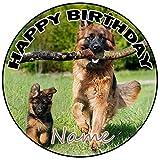 AK Giftshop Decoración para tarta de cumpleaños de perro pastor alemán personalizable, redonda, 20 cm, cualquier edad y nombre