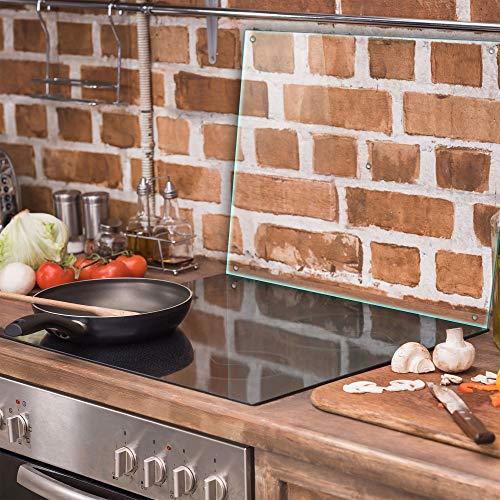 TMK | Herdabdeckplatte Einteilig 60x52 cm Ceranfeld Abdeckung Glas Spritzschutz Abdeckplatte Glasplatte Herd Ceranfeldabdeckung transparent - durchsichtig