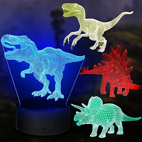Dinosaurier Nachtlicht Geschenke, 4PCS 3D Lampe Spielzeug mit 16 Farbwechsel und Fernbedienung, Geschenke für Jungen ab 3 4 5 6+ Jahre