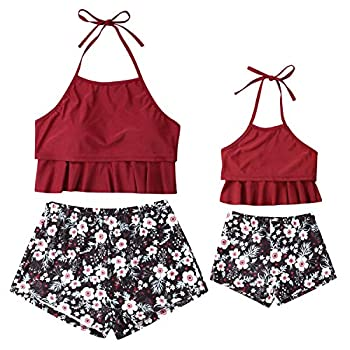 Mommy and Me Ruffle Bathing Suit Two Piece Women Padded Push Up Swimsuit Baby Girls Floral Boyshort Beachwear  Small Mom