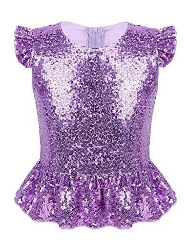 TiaoBug Girls Party Tops Mermaid Costume Sequin Ruffles Embellished Sparkle Tank Top Vest for Halloween Carnival Birthday Lavender 12