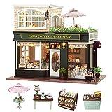 Cuteroom Kit de Miniatura de artesanía de Madera de Bricolaje Kit de artesanía de Tienda de café y Torta de París con Todos los Muebles, instrucción en inglés