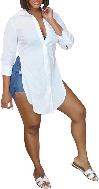 Womens Summer Tops Turn-Down Collar Printing Long Sleeve Side Split Curved Hem Button Down Shirt Top Blouse