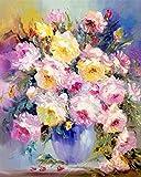 N / A ysyxin DIY Pintura al óleo Flor Rosa Rosa Lienzo de Bricolaje Regalo de Pintura al óleo para Adultos niños para el Arte de la Sala de Estar Decoración-16 x 20 Pulgadas Sin Marco