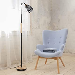 Floor Lamps with Unique Cut-Out Shade Simple Standing Light Rustic Standing Reading Lamps for Living Room Bedroom Office Farmhouse