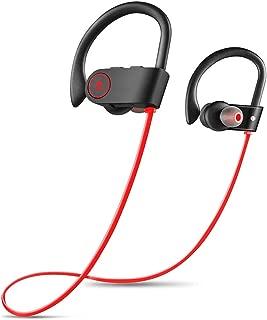 GLJJQMY Ear-Hook Wireless Sports Bluetooth Headset in-Ear Stereo Super Bass IPX7 Seven-Level Waterproof Bluetooth Earphone (Color : RED)