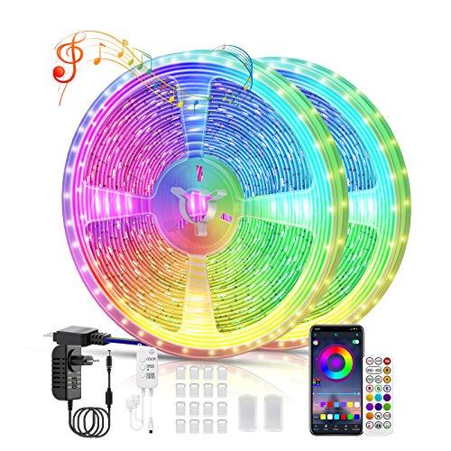 Voneta Striscia LED 20M, Striscia di Luci a LED, Nastri LED Bluetooth, RGB 5050 Musica Sync Luci LED Strip, con Controller Bluetooth + Telecomando, per Decorazioni, Cucina, Bar, Festa, TV