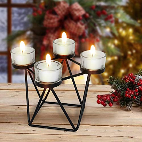 Portavelas de metal con cintas atadas, para decoración de Navidad, para mesa de comedor, oficina en el hogar y familia y amigos