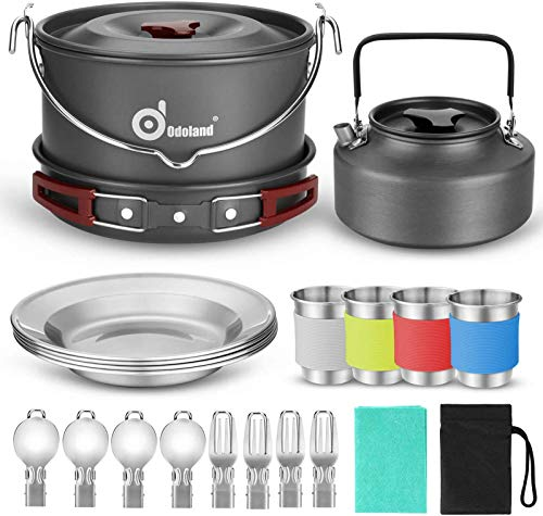 Odoland 22pcs Camping Cookware Mess Kit, Large Size Hanging Pot Pan Kettle with Base Cook Set for 4, Cups Dishes Forks Spoons Kit for Outdoor Camping...