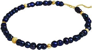 Gemshine Collier d´Argent 928 ou plaqué or 18 carats (750). Perles de culture baroques Tahiti Midnight blue - Minuit bleu....
