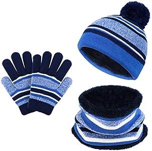 VBIGER Sombreros de Caliente Punto para Niños y Niñas con Forro de Felpa Corta, Set de Bufanda, Gorro y Guantes, 3 Piezas, 3-6 Años