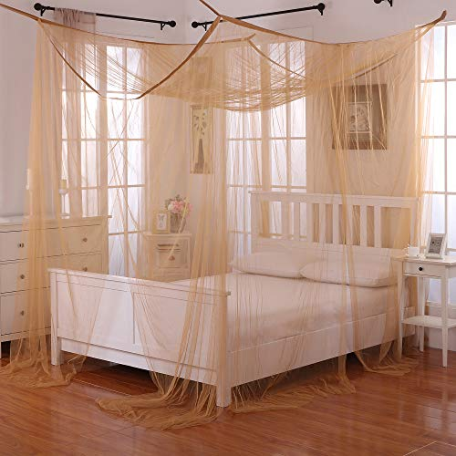 Epoch Hometex, Inc Palace 4-Post Sheer Panel Bed Canopy Gold