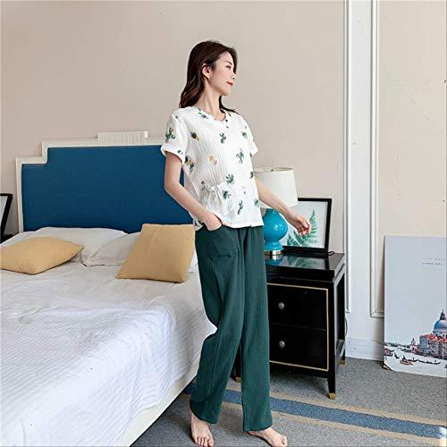 XFLOWR Schlafsachen Damen Baumwollpyjamas Wassergewaschene Pyjamas Kreppgarn Kurzärmlige Lange Hosen Nachtwäsche Home Suit Damenpyjamas 2-teiliges Set L weiß B.