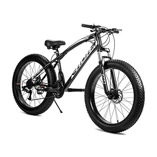 AOA POWER Fat Tyre Beach Snow Bike with Front Suspension,High Carbon Steel Frame,26 inches Wheel,Double Disc Brakes,21 Speed Antislip Mountain Bike Black (Black)