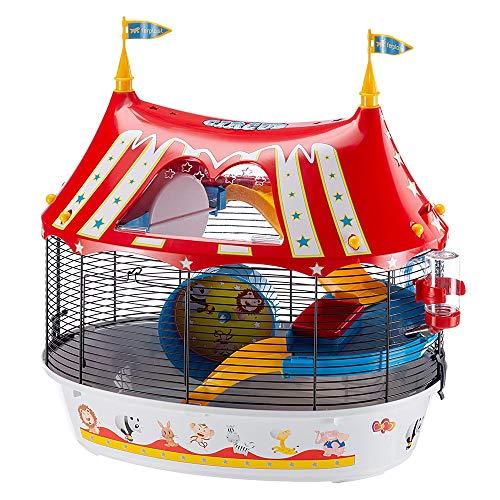 Ferplast Jaula de Tres Pisos para hámsteres Circus Fun, Ratones y pequeños roedores, Plástico Robusto y Metal, Coloridos Adhesivos y Accesorios incluidos 49,5 x 34 x h 42,5 cm Negro ✅