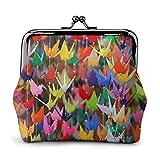 Origami Paper Cranes Impreso Mini Monedero Cuero Pu Cartera Bolsa de Embrague con Cierre de Beso
