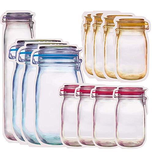 N/0 Mason Jar Borsa, 12 Pezzi Mason Jar Zipper Bags Sacchetti della Spesa Riutilizzabili Mason Jar Ermetiche, A Prova di perdite, per Viaggi, Campeggio, Picnic