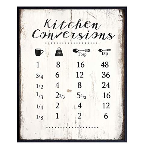 Kitchen Measurement Conversion Chart Wall Decor for Cooking, Baking - 8x10 Rustic Room Decoration, Poster Print - Cute Wall Decor or Gift for Women, Cook, Chef, Baker, Baking Fan - UNFRAMED