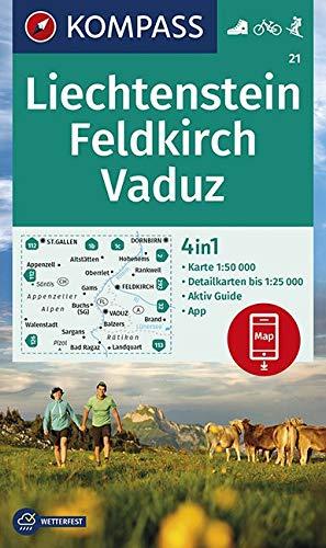 KOMPASS Wanderkarte Liechstenstein, Feldkirch, Vaduz: 4in1 Wanderkarte 1:50000 mit Aktiv Guide und Detailkarten inklusive Karte zur offline Verwendung ... Skitouren. (KOMPASS-Wanderkarten, Band 21)